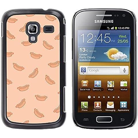 Hot Dog Peach Fast Food Pattern Junk–in alluminio e custodia posteriore in plastica rigida–nero–Samsung Galaxy Ace 2 - 2 ° Fast Peach