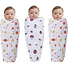 "Wonder Wee 2 Layered Baby Swaddle Blanket, 44"" x 44"", Orange Space with Pink Food and Orange Space, Pack of 3"