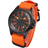 Shark Montre Homme Sportive Army Outdoor Date Affichage Militaire Bracelet Nylon Orange Strap SAW086