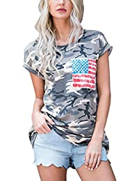 Ba Zha HEI Elegant Frauen Kurzarm Camouflage Bluse Tops T-Shirt mit Tasche  Modisch Damen fcd9362e29