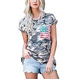 Ba Zha HEI Elegant Frauen Kurzarm Camouflage Bluse Tops T-Shirt mit Tasche Modisch Damen Sommer T-Shirt Kurzarm Rundhals Druck Muster Oberteile Loose Fit Bluse Weiches Material Tops (Tarnung, S)