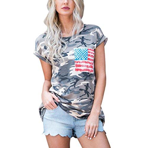 Ba Zha HEI Elegant Frauen Kurzarm Camouflage Bluse Tops T-Shirt mit Tasche Modisch Damen Sommer T-Shirt Kurzarm Rundhals Druck Muster Oberteile Loose Fit Bluse Weiches Material Tops (Tarnung, M)