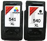 Canon PG-540XL Cartouche reconditionnée Noir et CL-541XL Cartouches d'encre Couleur pour PIXMA MG2100, mg2140, MG2150, MG2250, mg2255, MG3100, mg3140, MG3150, MG3150-Rouge Edition, MG3155, MG3200, MG3250, MG3255, MG3500, MG3550, mg3600, mg3650, MG4100
