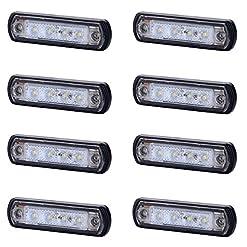 8x 4SMD LED bianco anteriore luce di indicatore laterale 12V 24V e-contrassegnato luce di posizione auto camion rimorchio camper caravan furgone tetto Cab top universale