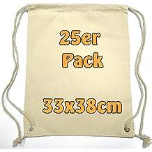 Pequeño Algodón mochila bolsa de tela bolsa de deporte bolsa de deporte para niños Guardería Infantil Escolar Deporte de enseñanza para pintar con cordón Natural 33x 38cm 25unidades)