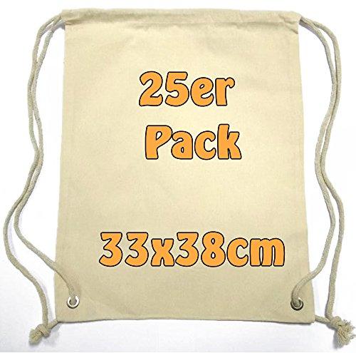 Mochila de cuerdas, de tela de algodón, de deporte, para niños, para la guardería o para la escuela, para pintar, 33 x 38, 25 unidades