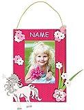 Bastelset 3-D Fotorahmen - incl. NAME - für das Foto Einhorn pink Mädchen - Bilderrahmen Fotos Schulanfang Foto Kinderzimmer