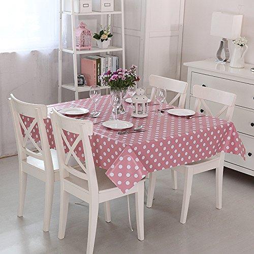 Vinylla lunares rosa fácil de limpiar PVC mantel de hule, Rosa, Small(180x140cm)