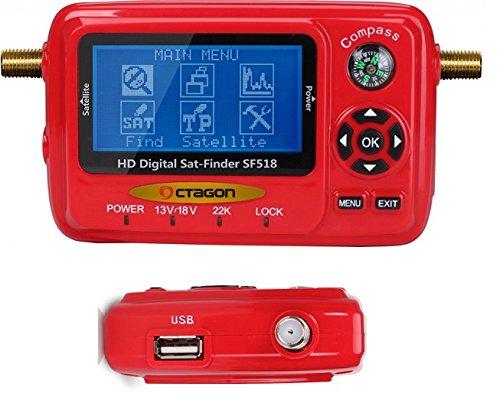 OCTAGON SAT FINDER Messgerät SF 518 LCD HD HDTV USB 2.0 Spektrum DVB-S und DVB-S2 DIGITAL