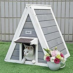Petsfit Casa de madera del gato del triángulo con la puerta del escape, puerta principal con el alero para prevenir la lluvia para el gato y los animales pequeños, gris, los 50cm los x 50cm los x 53cm
