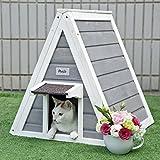 Petsfit Dreieck Katzen Holzhaus mit Fluchttür, Vordertür mit Traufe gegen Regen für Katzen und kleine Tieren, Grau, 50 cm x 50 cm x 53 cm