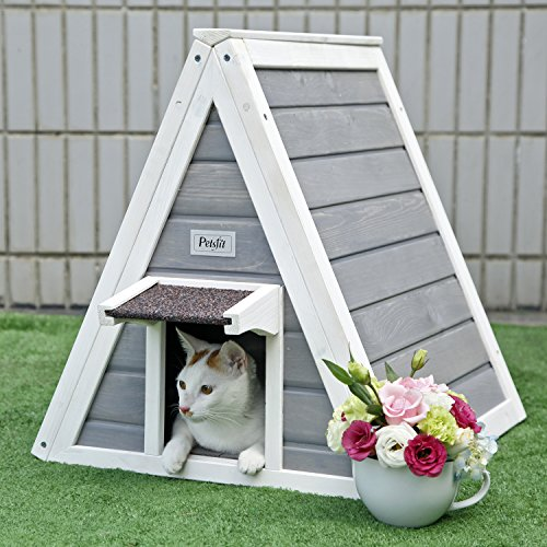 *Petsfit Dreieck Katzen Holzhaus mit Fluchttür, Vordertür mit Traufe gegen Regen für Katzen und kleine Tieren, Grau, 50 cm x 50 cm x 53 cm*
