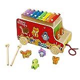 Ziehen Spielzeug Holz Autos Xylophone Stecktiere Nachziehspielzeug mit Formen Sortier für Kinder Jungen Mädchen