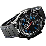 Sanwood Men's Racer Pilot Army Style Silicone Wrist Watch