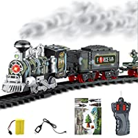 Electric Steam Smoke RC Train Set Model Toy with Tracks, USB Rechargeable Remote Control Conveyance Car Gift Presents for Kids Boys Girls Children - Compare prices on radiocontrollers.eu