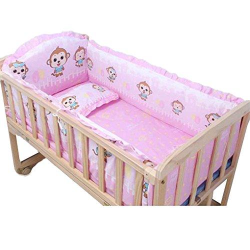 Provide The Best 5pcs Baby-Bett-Bumpers aus Reiner Baumwolle Baby-Bettwäsche-Satz Newborn Karikatur druckt Krippe Zaun-Schutz für Kleinkind (Baby-bettwäsche-blatt-satz)