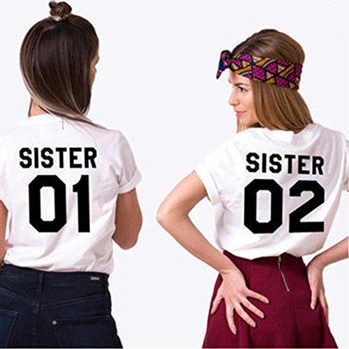 Minetom T Shirt Donna Best Friend Estive Tunica Tops Cime Sister 01 02 Stampa Magliette Manica Corta Tee Casuale Moda Pink - Nero 01