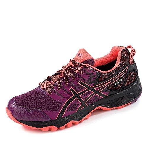 Asics Gel-Sonoma 3 G-Tx, Chaussures de Course pour Entraînement sur Route Femme Multicolore (Dark Purple/Black/Flash Coral)