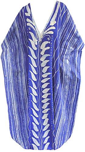 La Leela à long caftan beachwear maillots de bain en coton main batik femmes soir porter evevning robe Bleu