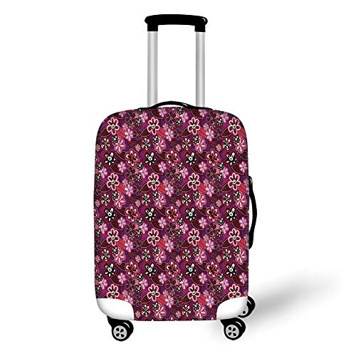Travel Luggage Cover Suitcase Protector,Flower,Modern Design Watercolor Decor with Floral Leaf Seemed Ombre Print,Purple White Pink and Black,for Travel
