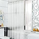 Diossad Duschvorhang Transparent Wasserdichter Schimmelresistent Lange Länge PEVA Badvorhang Inklusive 12 Weißen Vorhangringen