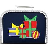 Pappkoffer mit Motiv Geschenke 25 cm (blau)