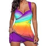 VJGOAL Damen Tankini, Dame Fashion Rainbow Farbe Swimdress Beachwear gepolsterte Bademode Plus Size Bikini Badeanzug, 32-46 (3XL / 42, Violett)