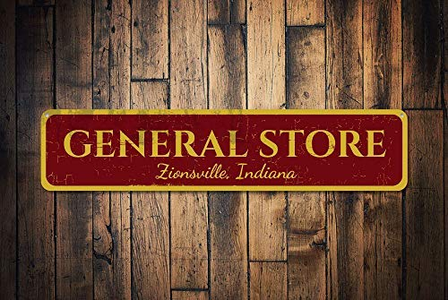 General Home Decor (General Store Schild Personalisiertes City State Sign Custom Shop Name Sign Metall Home Decor General Store Decor Metall Sign for Home Wall Art Decor Post Plaque for Women Men)