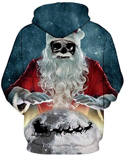 AureQet Damen Realistische 3D Galaxy Bedruckte Große Taschen Drawstring Pullover Hoodie Kapuzen Sweatshirt Schwarzes Loch