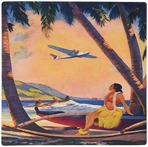 3drose LLC 20,3x 20,3x 0,6cm Maus Pad, Bild von Hawaiian Fluggesellschaft mit Hula Girl und Palmen (MP 163611_ 1) (Maus-pad-hawaiian)