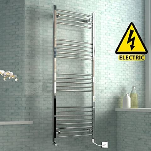 1600 x 600 mm Electric Curved Towel Rail Radiator Chrome