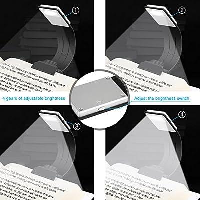Etmury LED Leselampe Klemmleuchte Leselicht USB,Buchlampe Schreibtischlampe mit 4 Helligkeit Clip Klammer Flexibel Buchlampe Buch Lesen Led Leseleuchte für Kindle Buch eBook, Reisen, Laptops(Schwarz)