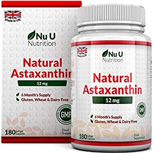 51bDu8EmZuL. SS300  - Astaxanthin 5% Oil 12mg | 180 Softgels (6 Month Supply) | Astaxanthin from Nu U Nutrition