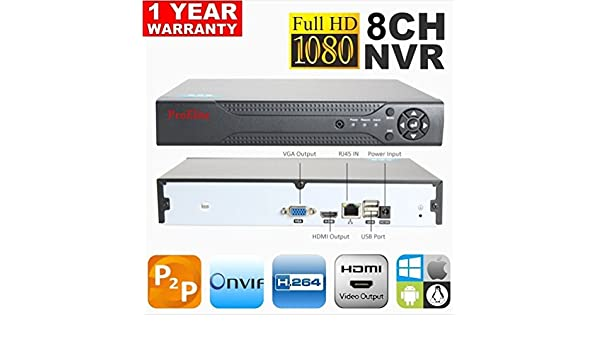 ProElite 8 CH Channel NVR 1080p ONVIF Cloud P2P HDMI IP: Amazon in