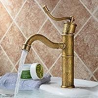 WYMBS Accessori per mobili creativo decorazione bagno Rubinetto da incasso europeo rame intagliato antico acqua calda e fredda