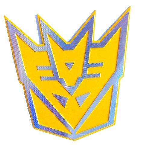 Transformers Decepticon Gelb 3D-Laser-Reflex-Auto Emblem Badge Aufkleber Decal - klein Size