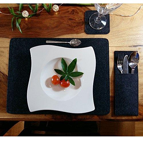 Venetto 2-er / 4-er Sets Platzmatten Tischmatten Tischschoner Untersetzer Tassendeckchen Tassendecken Tischdeko Tisch Deko Tischdecken Tischdeckchen Glasuntersetzer Tassen Glas Bierdeckel aus Filz (4-er Set, Melange Schwarz) (Schwarze Flecken Zwei)