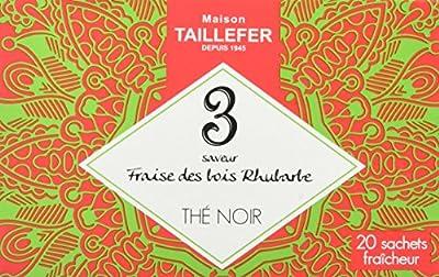 Maison Taillefer Thé Noir Fraise des Bois/Rhubarbe en Sachet Individuel Boîte de 20 Sachets - Lot de 5