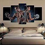 wangyubing Leinwanddrucke Dekoration Poster Für Wohnzimmer HD Drucke 5 Stücke Sport Fitness Hantel...