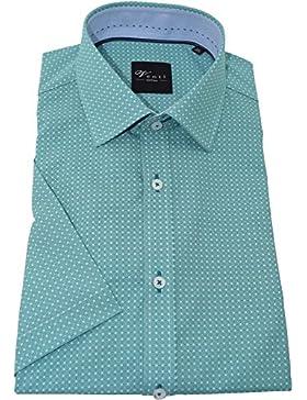Venti Herrenhemd slimfit grünes Hemd mit Druck halbarm Kent Kragen ohne Tasche Kollektion Size 39