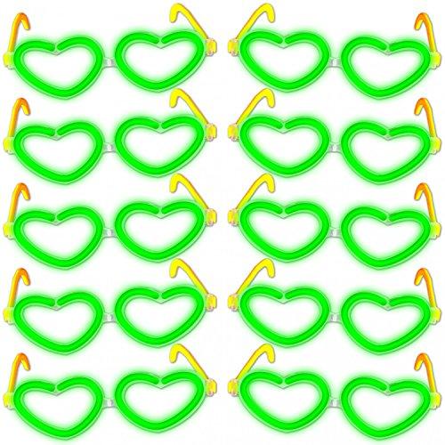 KnickLichter Party Brillen 10er Set Herzform Party Brille mit toller Leuchteffekt - sehen & gesehen Werden, Farben:Grün
