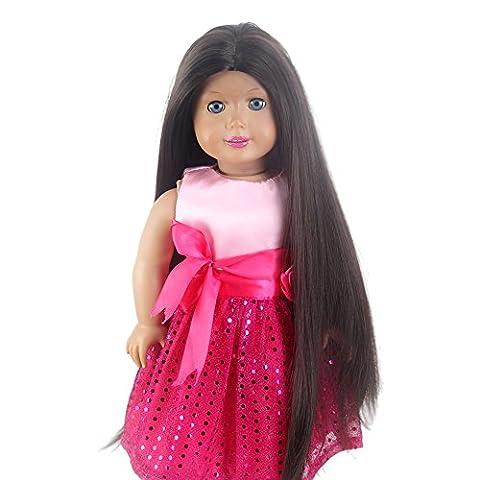Stfantasy American Girl Doll Wigs Long Straight Heat Resistant Synthetic Hair 17 Inch 150g Cosplay Wig Peluca, Black