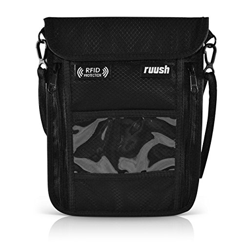 Brustbeutel | Flache Brusttasche für Damen Herren Kinder | Umhängetasche in Schwarz mit RFID - Rfid-reise-geldbörse Hals