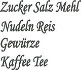 Küchenset 8x dunkel graue Aufkleber Beschriftung für Vorratsdosen, Vorratsglas, Frischhalteboxen aus Plastik, Glas oder Metall (Text Zucker, Salz, Mehl, Nudeln, Reis, Gewürze, Kaffee, Tee) konturgeschnitten aus Folie, wasserfest und selbstklebend