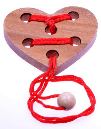 Herz Puzzle - Schnurpuzzle - Denkspiel - Knobelspiel - Geduldspiel - Logikspiel aus Holz