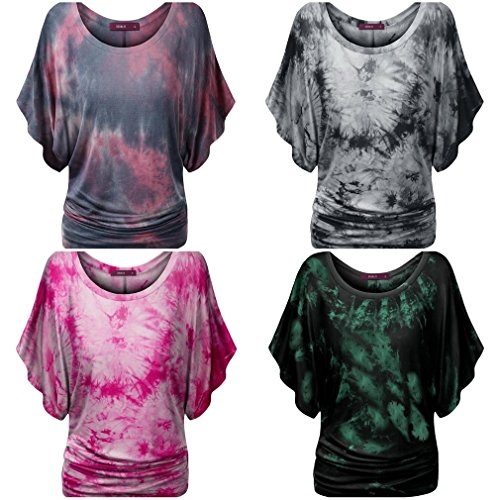 Smile YKK Chemise Imprimé Femme T-shirt Manche Courte Blouse Top Haut Col Rond Casual Eté Rouge