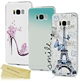 [3-Pack] Maviss Diary Samsung Galaxy S8 Plus Case ,Galaxy S8 Plus + Case - 3 Pieces Clear Hard PC Bumper Cases Transparent with Stylish Prints Ultra Thin Protective Covers Pack of 3 - High Heeled Shoe/Love Heart/Effiel Tower