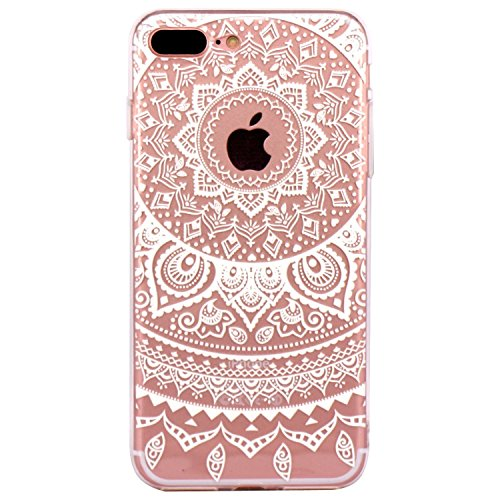 iPhone 6 Case, Walmark Beautiful Clear TPU Soft Case Rubber Silicone Skin Cover for iPhone 6 4.7 inch inch - White Circle Flower Tribal Mandala