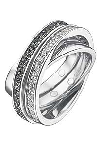 JETTE Silver Damen-Ring Tender 925er Silber rhodiniert 20 Zirkonia 16 Kristall silber, 55 (17.5)