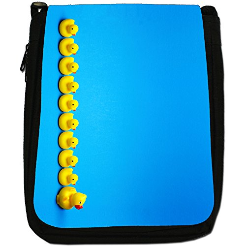 Lifetime-Paperelle di gomma per vasca da bagno Bubble-Borsa a tracolla in tela, colore: nero, taglia: M Rubber Ducks All In A Row
